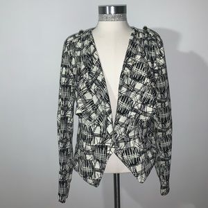 Blazer - Black and White Abstract Print